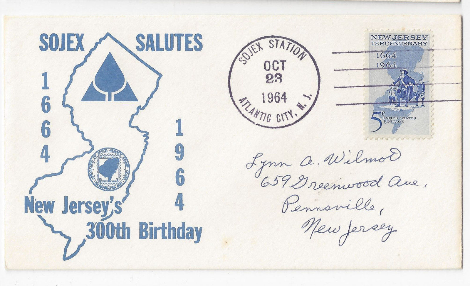 SOJEX Stamp Exhibition 1964 Cachet Cover New Jerseys 300th Birthday Sc# 1247