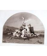 Steel Engraving 1854 Battle of Edgehill Standard in Danger J. W. Glass A... - $15.20