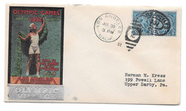 US 1932 Olympics Summer Opening Day Cover Olympic Village Cachet Sc 719 Pair - $47.00