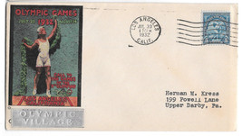 US 1932 Summer Olympics Opening Day Cover Olympic Village Cachet Sc 719 5c - $19.95