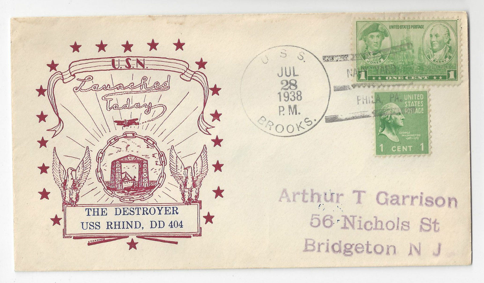 USS Brooks USS Rhind DD-404 Launch Cover 1938 Horton Cachet Navy Yard Phila PA