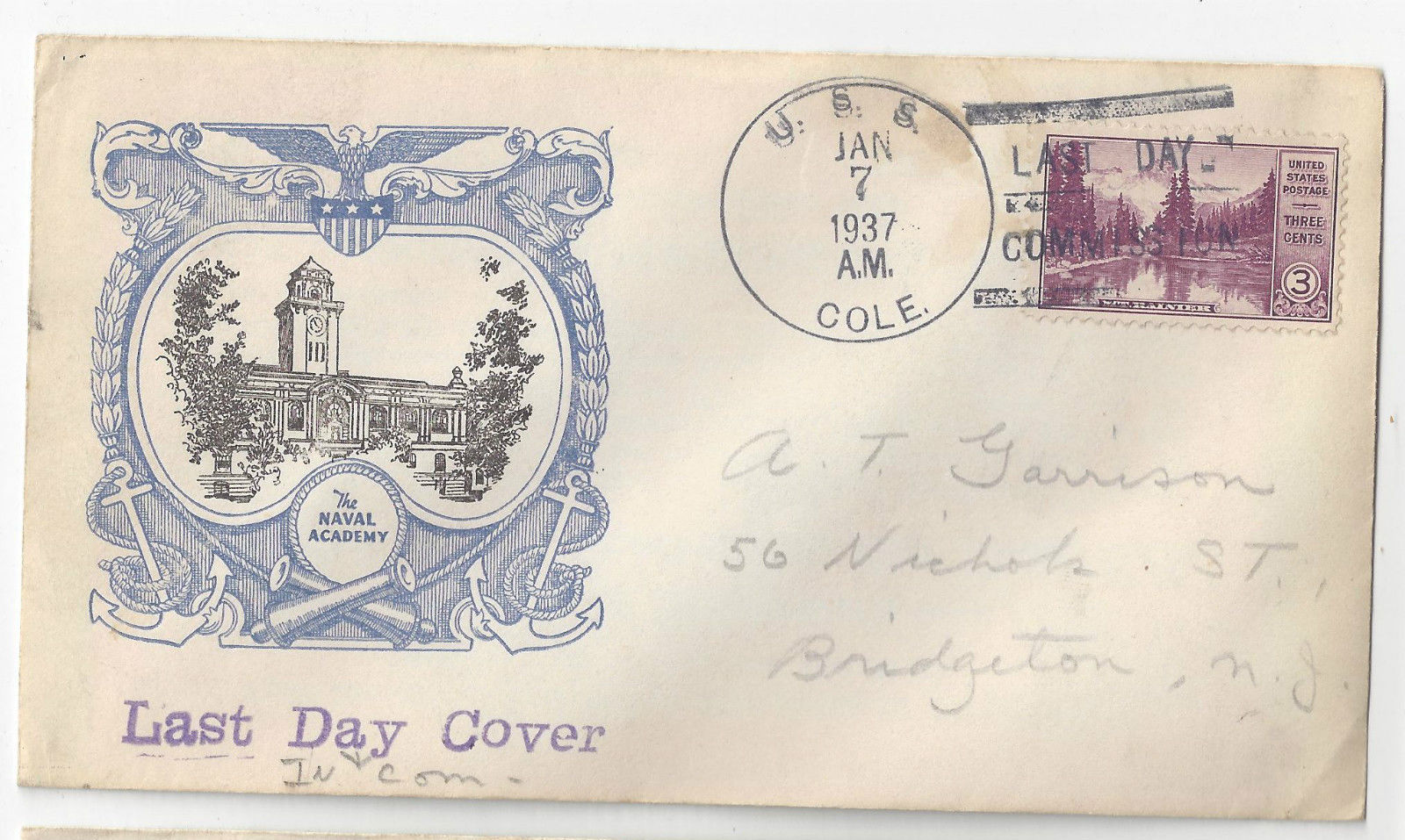 USS Cole DD-155 1937 Last Day of Commission Cover Naval Academy Linprint Cachet
