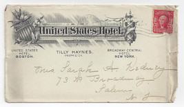 United States Hotel 1905 Advertising Commercial Cover Boston New York - $8.54