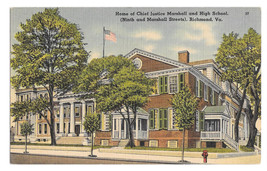 VA Richmond Home Chief Justice Marshall and High School Vtg Linen Postcard - $4.74