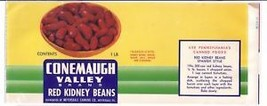 Vegetable Can Label Conemaugh Valley Kidney Beans Meyersdale PA - $4.74