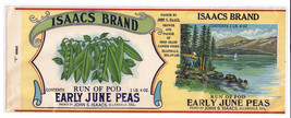 Vegetable Can Label Isaacs Run of Pod Early June Peas Litho Ellendale DE - $4.74