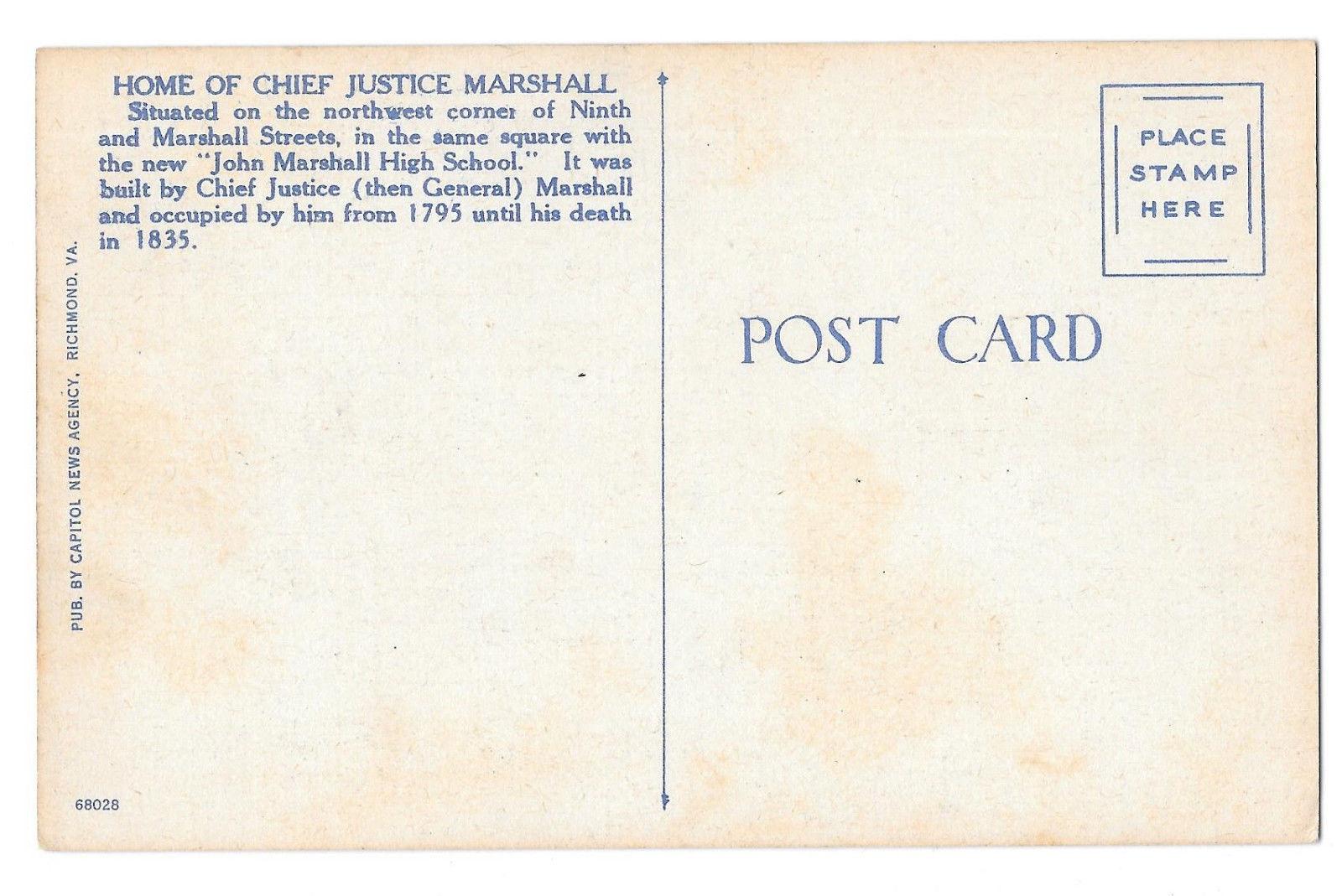 VA Richmond Home Chief Justice Marshall and High School Vtg Linen Postcard