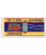Vegetable Can Label Defy The World Tomato Paste Quinton NJ Vintage - $4.74