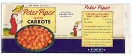 Vegetable Can Label Peter Piper Carrots Providence RI E.H. Jolles 1940 - $9.49
