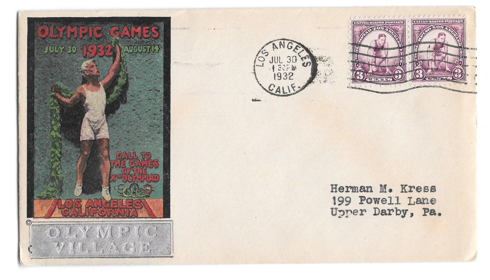 US 1932 Olympic Village Cachet Summer Opening Day Cover Sc 718 3c Pair