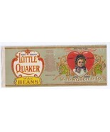 Vegetable Can label Hart Little Quaker Wax Beans Embossed Gilded - $9.49