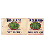 Vegetable Can Label Tableland Early June Peas Somerset PA 1 lb Overprint... - $4.99