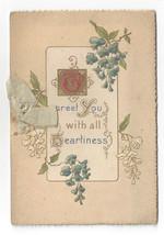 Vintage Christmas Card Booklet Embossed Chromo Flowers - $6.36