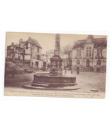 WWI France Chateau Thierry Fountain Town Hall After Bombardment Postcard - $4.74