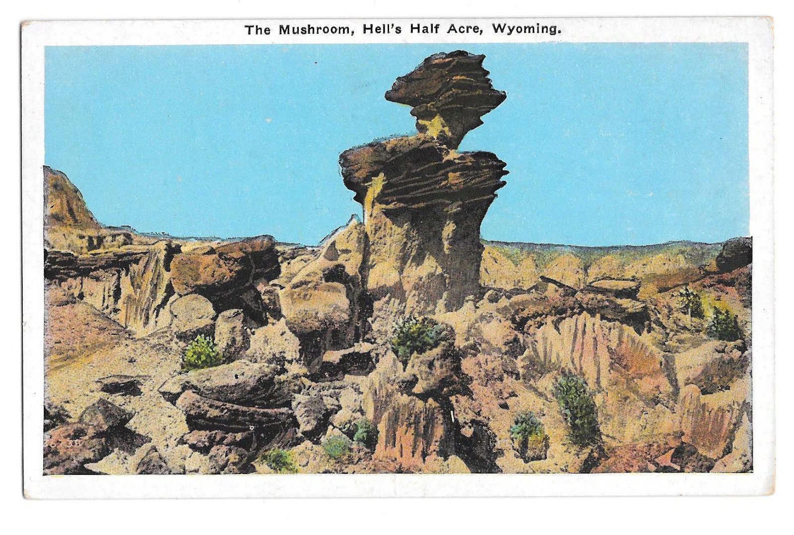 WY Hell's Half Acre The Mushroom Vtg Postcard Wyoming Rock Formation