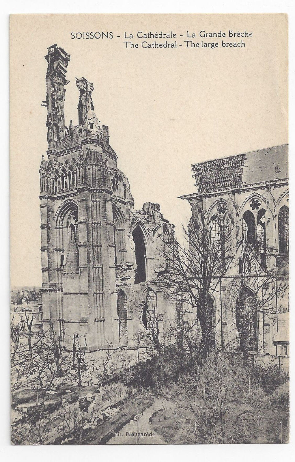 WWI France Soissons Cathedral The Large Breach c 1918 Postcard