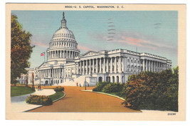 Washington DC Capitol Building Vtg B.S. Reynolds 1942 Linen Postcard - $4.74