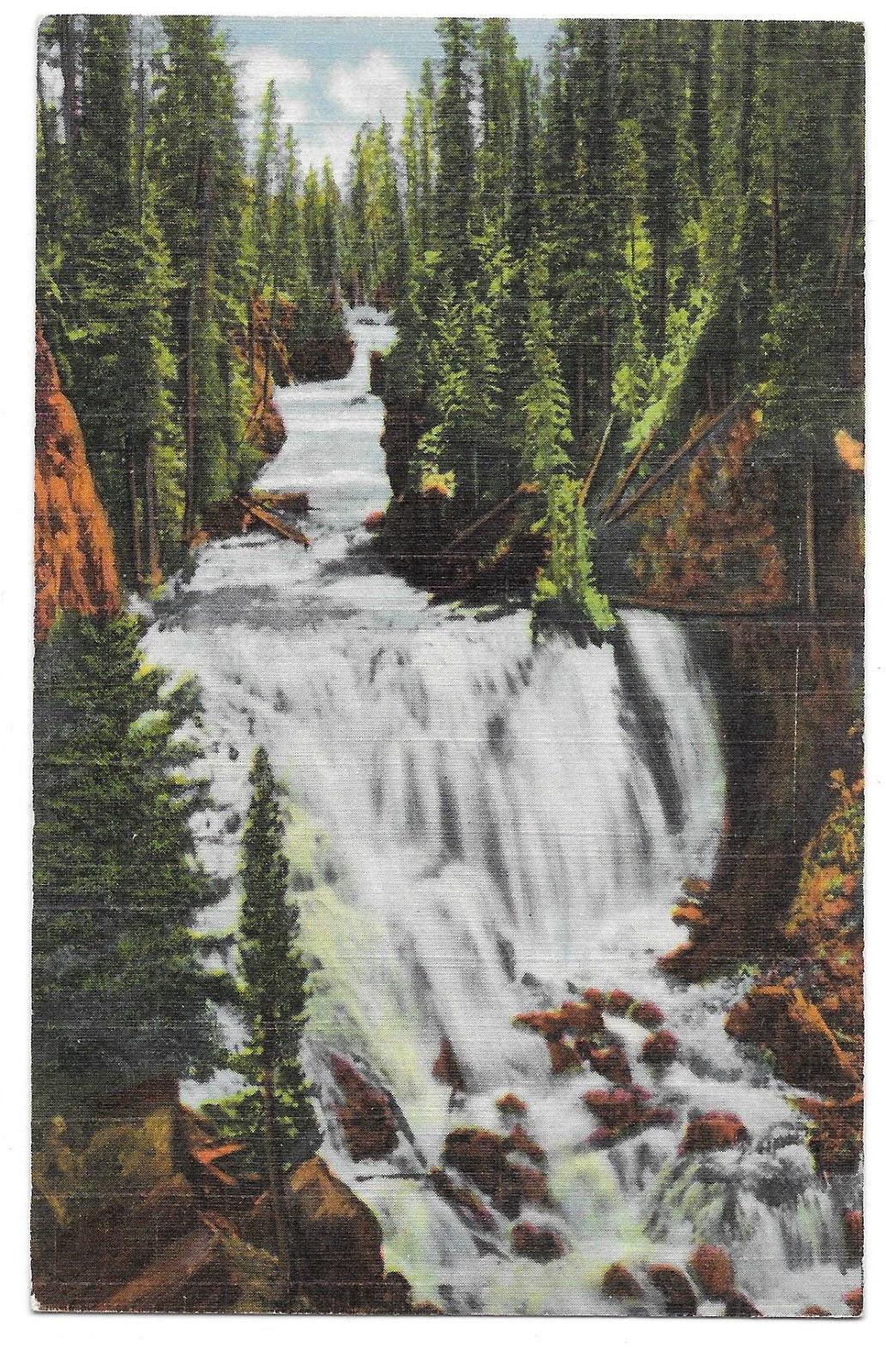 WY Yellowstone Park Kepler Cascades Firehole River Vtg Linen Postcard Wyoming