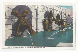 Washington DC Library of Congress Court of Neptune Fountain Vtg Postcard - $4.74