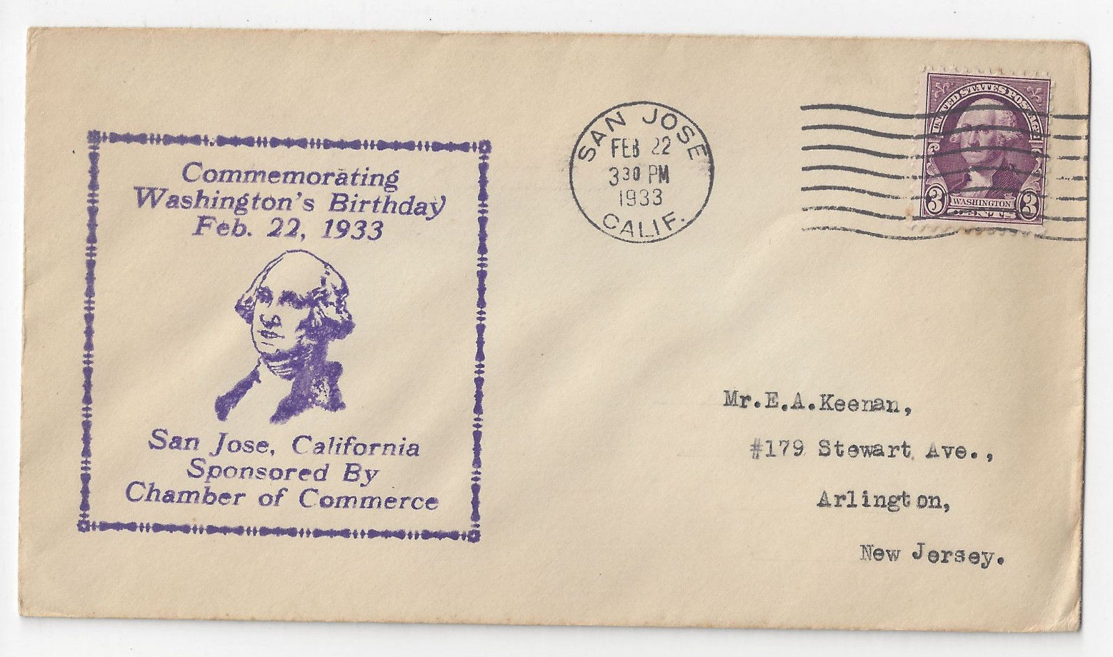 Washingtons Birthday Cover San Jose CA Chamber of Commerce 1933 Cachet