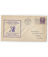 Washingtons Birthday Cover San Jose CA Chamber of Commerce 1933 Cachet - $4.74