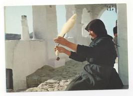 Woman Spinning Wool Greece Ellas Vintage Postcard - $11.88