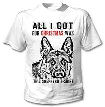FUNNY CHRISTMAS GERMAN SHEPHERD 1 GIFT B - New Cotton Graphic White T-Shirt - $22.49