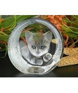 Vintage Mats Jonasson Cat Kitten Crystal Paperweight Sculpture 9176 - $24.95