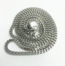 """White Gold Franco Chain Necklace Stainless Steel 30"""" - $18.69"""
