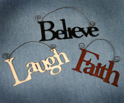 Set of 3 Metal Word Ornaments Laugh Faith Believe - $12.98