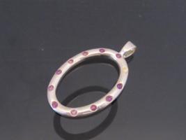 Vintage Sterling Silver Amethyst Oval Pendant  - $35.00