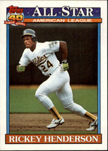 1991 Topps Rickey Henderson #391 All-Star Oakland A's (MT) Baseball Card - $1.19