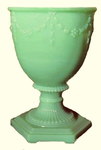 Aladdin Green Moonstone Jadite Glass Florentine Vase for Kerosene Oil Lamp New