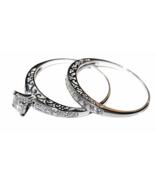 Non-Tarnishing CZ Sterling Silver 2Pc Bridal Ring Set, Filigree Engageme... - $62.59