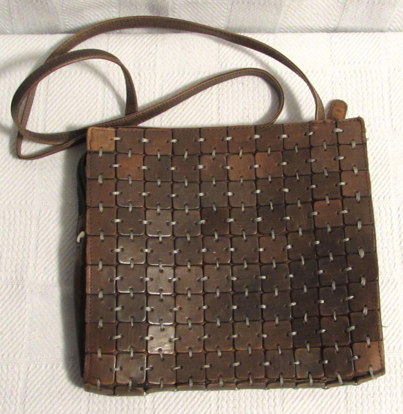 GEM Square-Cut Women's Brown Leather Shoulder Bag/Purse Small