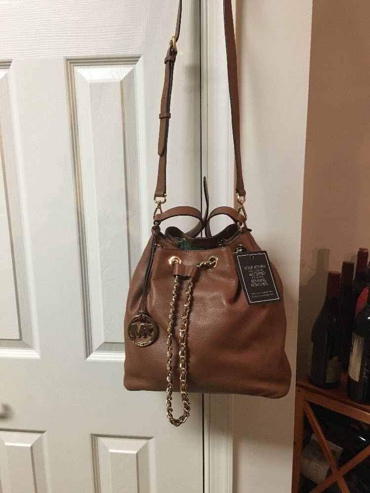 de80f2e0de58 ... NWT Michael Kors Frankie Large Leather Convertible Drawstring Shoulder  Bag  328 ...