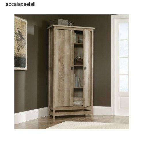 Wood storage cabinet tall wardrobe shelf kitchen pantry organizer closet armoire cabinets - Kitchen booth with storage ...