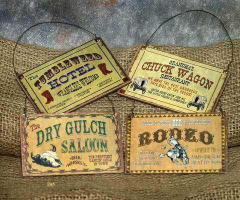 Set of 4 Western Christmas Ornament Signs