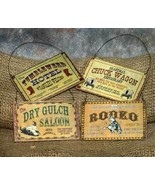 Set of 4 Western Christmas Ornament Signs - $19.98