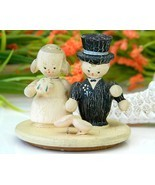 Vintage Folk Art Painted Wood Bride Groom Cake Topper Lid   - $17.95