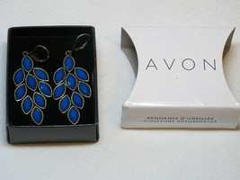 Ladies Womens Avon Autumn Colors Drop Earrings blue F3769981 NIP - $16.21