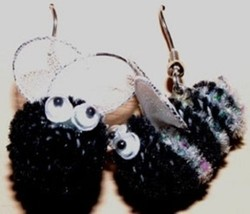 Funky Bumble Bee Earrings Cute Killer Bees Garden Honey Charm Costume Jewelry - $6.97
