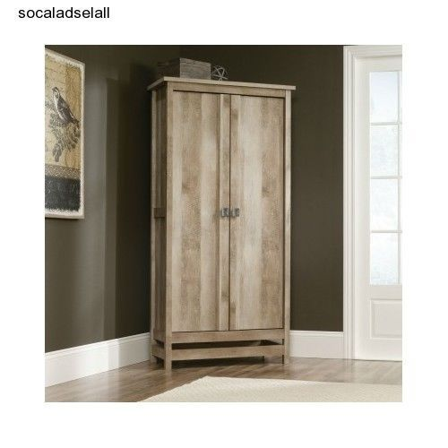 wood storage cabinet tall wardrobe shelf kitchen pantry. Black Bedroom Furniture Sets. Home Design Ideas