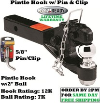 "Tow Ready Pintle Hook 12,000 Lbs. W/ 2"" Ball & Pin & Clip For 2"" Hitch Receivers - $120.00"