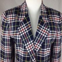 Liz Claiborne USA ILGWU Power Plaid Tweed Blazer Jacket Ladies Lined 6P - $48.51