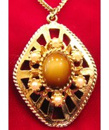 Sarah Coventry Tigers Eye Necklace Candle Glo - $16.00