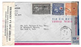 1945 Haiti Double Censored Air Mail Cover Port au Prince to US Sc RA4 36... - $7.50
