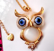 Betsey Johnson Owl Necklace Pendant with Jelly ... - $19.95