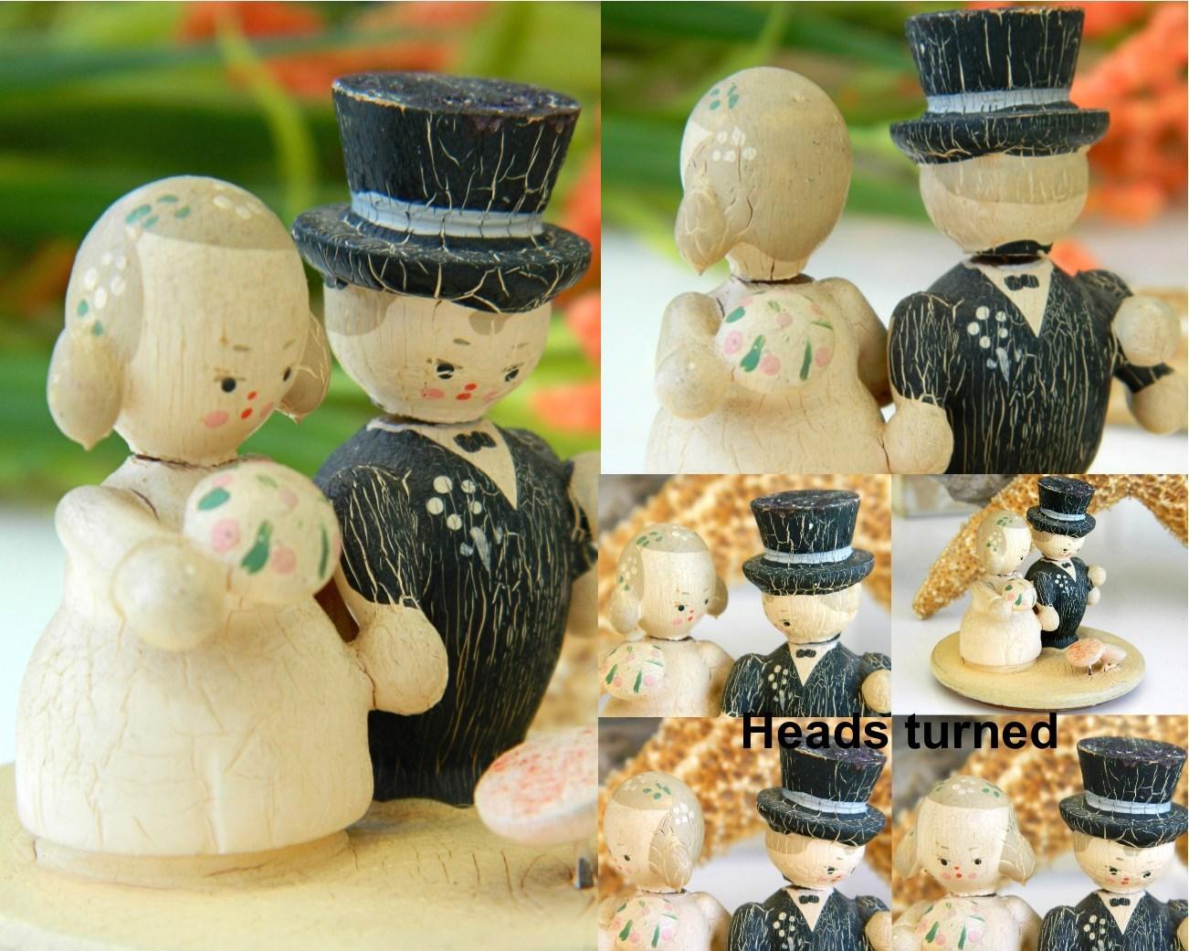 Vintage Folk Art Painted Wood Bride Groom Cake Topper Lid