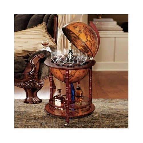 Italian Old World Replica Globe Bar Table Wine Liquor Serving Cart Tray Art Home